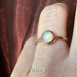 Sublime Old Ring In Vermeil Rose Gold / Silver, Natural Opal