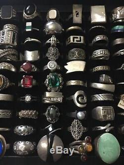 Superb 100 Sterling Silver Rings Lot Old Vintage And Contemporary Jewel