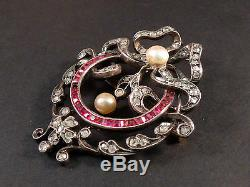 Superb Brooch Pendant Old Sterling Silver 18k Gold Diamonds, Rubies And Pearls