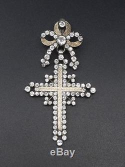 Superb Old Cross Yvetot Sterling Silver Gold And Rhinestone Normandy Nineteenth