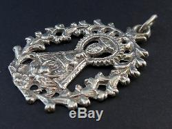 Superb Old Large Religious Medal In Sterling Silver Xviiith Century