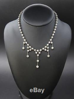 Superb Old River Necklace In Sterling Silver And Rhinestone Drapery Nineteenth