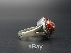 Superb Old Solid Silver Dome Ring And Enamels Bressans Xixth T57
