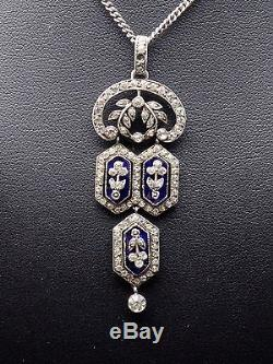 Superb Old Sterling Silver Pendant With Rhinestones And Blue Stones Xixeme