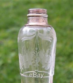 Superb Old Vial Alcohol / Melissa Crystal & Silver Gilt Nineteenth