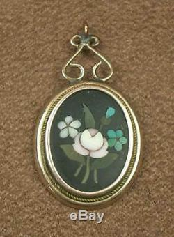 Superb Pendant Ancient Marquetry Marble Pietra Dura Italy Xixth