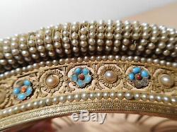Tiara Jewelry Tiara Comb Former Nineteenth Century Brass 19 Fancy Pearl Silver