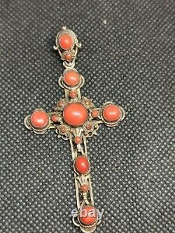 Tres Ancient Cross In Massive Silver And Coral Ref B796