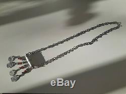Tunisia Rihanna Khamsa Old Silver Beads And Glass Paste (berber)