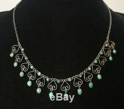 Turquoise Necklace Old Silver Massif