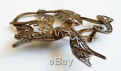 Vermeil Brooch Silver Filigree Ancient Bird Portugal Silver Brooch