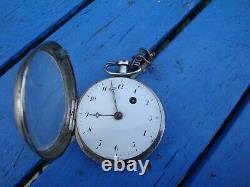 Watch A Gousset Silver Coq Et Chaine / Watch Ancienne
