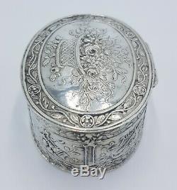 XVI Old Box Pillar Silver Solid English Snuff Pill Box Sterling Silver