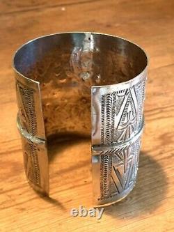 105g! Silver Berber Bracelet Manchette Ancien Tunisien Kabyle Argent Vintage