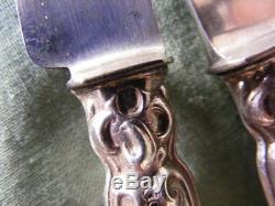 12 Couteaux anciens manches Argent Massif fourré, poinçon Minerve 1er titre