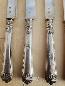 12 couteaux ancien en argent massif / manche et lame en argent massif