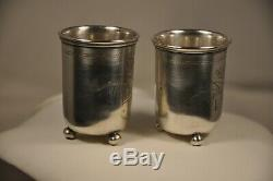 2 Timbales Russes Ancien Argent Massif Antique Russian Goblets 1896