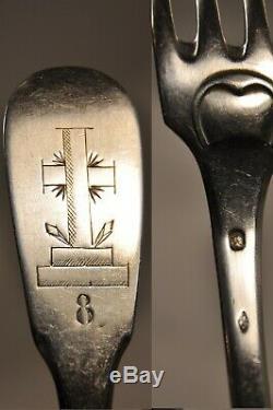 3 Fourchettes Ancien Couvent Croix Religieuse Argent Massif Antique Solid Silver