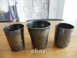 3 Timbales Anciennes En Argent Massif Minerve 206 Grammes