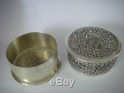 500-600GR ARGENT MASSIF CAMBODGE INDOCHINE ancien Coffret Maquillage coiffeuse