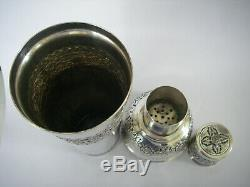608GR ARGENT MASSIF CAMBODGE INDOCHINE SHAKER gobelets ancien service a Cocktail