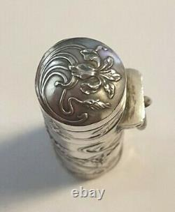 ANCIEN RARE FLACON A SELS DÉCOR ART NOUVEAU EN ARGENT MASSIF silver salt bottle
