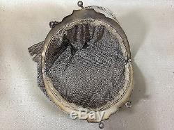 ANCIEN SAC A MAIN DE BAL en argent massif bourse aumônière cote de maille 290 g