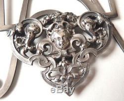 ANCIEN Superbe 3 cadres porte-menu argent massif silver 19e siècle