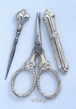 ARGENT nécessaire de couture miniature coffret ancien Jouet Sewing etui Child