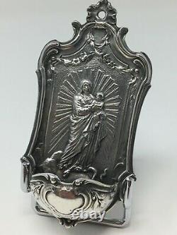 Ancien Bénitier Argent Massif Minerve Vierge Antique Silver Stoup 19 th