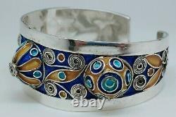 Ancien Bracelet Jonc Ouvrant Berbère Émail Coloré Argent Old Silver Strap 2