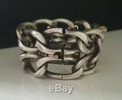 Ancien Bracelet grosse maille Argent Massif style Art Déco Moderniste 97 grammes