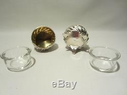 Ancien Coffret 6 Salerons Salieres Argent Massif Et Cristal Salt Cellar Silver