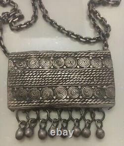 Ancien Collier Argent Massif Bijou Ethnique Orientaliste Origine Berbère Maroc