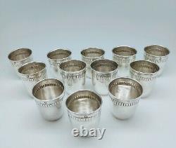 Ancien Lot 12 Verres À Liqueur Gobelets Argent Massif Minerve Old Silver Cup
