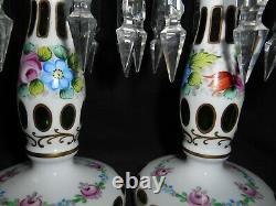 Ancien Paire De Porte Ananas Présentoir Art Populaire Verre Overlay Cristal