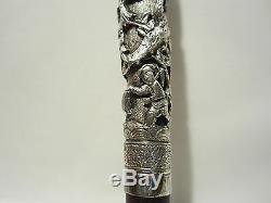 Ancien Pommeau Canne Ombrelle Argent Decor Asiatique Indochine Cane Umbrella