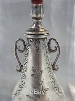 Ancien Rare Flacon Fiol Parfum Khol Kol Tabatiere Argent Massif Prise Corail