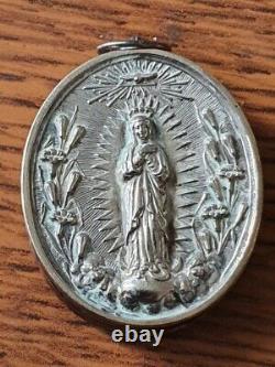 Ancien Reliquaire Argent Massif Sanglier décors Vierge-Paperolles et Os