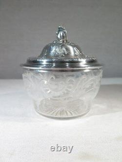 Ancien Sucrier De Style Louis XV En Argent Massif Et Cristal Epoque 1900