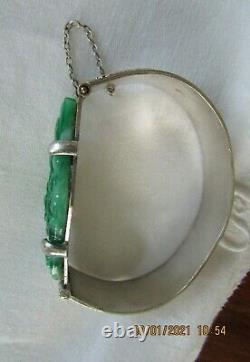 Ancien bracelet Chinois en argent et jade jadéite certifié début XXè 58GRS