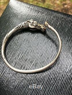 Ancien bracelet argent massif et or Arthus Bertrand cheval RARE