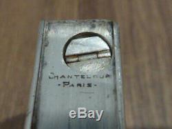 Ancien briquet a essence en argent massif Chanteloup Paris Petrol Lighter