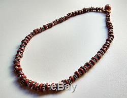 Ancien collier jaspe pourpre et argent Inde du Nord