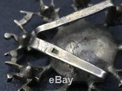 Ancien coulant de croix Normande en argent massif et strass XIXeme