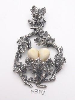 Ancien grand pendentif de chasse argent massif dents de cerf venerie trophée