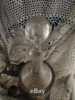 Ancien huilier vinaigrier epoque empire argent massif poincon vieillard carafe