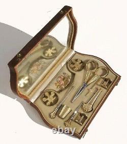 Ancien nécessaire de couture VERMEIL argent or Ciseaux brodeuse à Coudre écrin