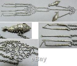 Ancien nécessaire fumeur ou manucure ARGENT poisson Chine chatelaine silver fish