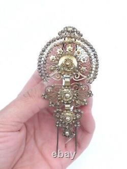 Ancien peigne épingle diadème en argent massif vermeil bijou regional XIXeme